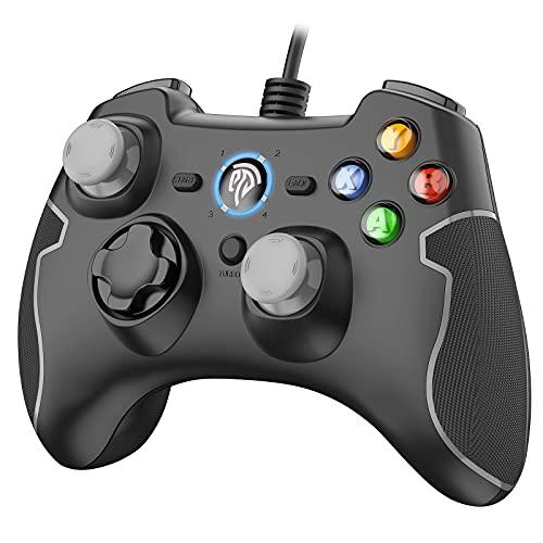 PS3 Gamepad, EasySMX PC Joystick für Spiele mit Kabel mit Dual-Vibration, Turbo und Fronttasten für Windows...