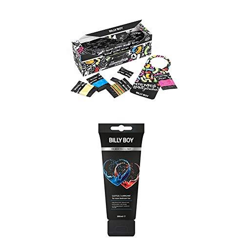 Billy Boy Lümmelkiste Kondome Mix-Sortiment, Farbige, Extra Feucht und Perlgenoppte, 50er Pack + Gleitgel...