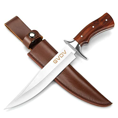 GVDV Jagdmesser Mit 440C Edelstahl Klinge - 32cm Feststehende Messer Mit Leder Messerscheide, Rotholzgriff...