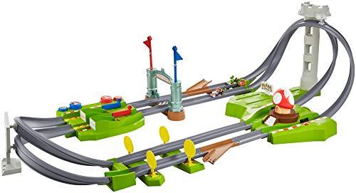 Hot Wheels GCP27 - Mario Kart Mario Rundkurs Rennbahn Trackset Deluxe inkl. 2 Spielzeugautos, Spielzeug ab 5...