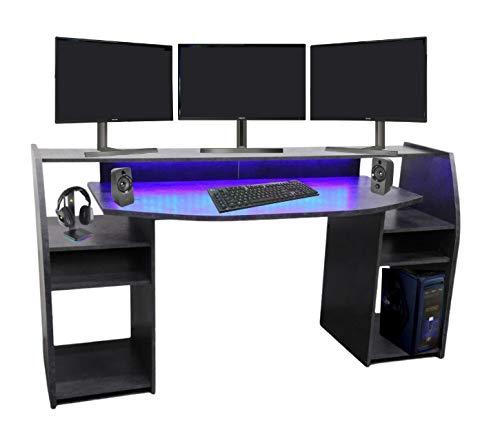 Wohnorama Gaming Tisch Schreibtisch inkl. LED RGB Beleuchtung, Setup Gamer Ablagen, Ultra Wide TV Monitor...