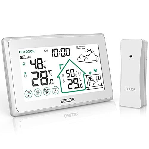 BALDR Wetterstation Funk mit Außensensor, Digital Thermometer Hygrometer Innen und Außen Raumthermometer...