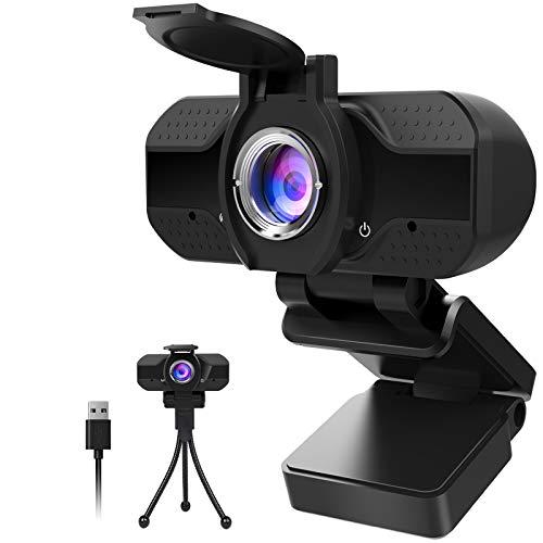 1080P Webcam mit Mikrofon und Datenschutz, 1080P HD USB Webkamera mit Stativ, Streaming-Webcam für...