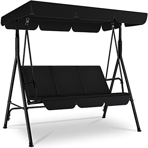 KESSER® Hollywoodschaukel 3-Sitzer Gartenschaukel 250kg belastbar mit abnehmbarem Dach & Sitzauflage...