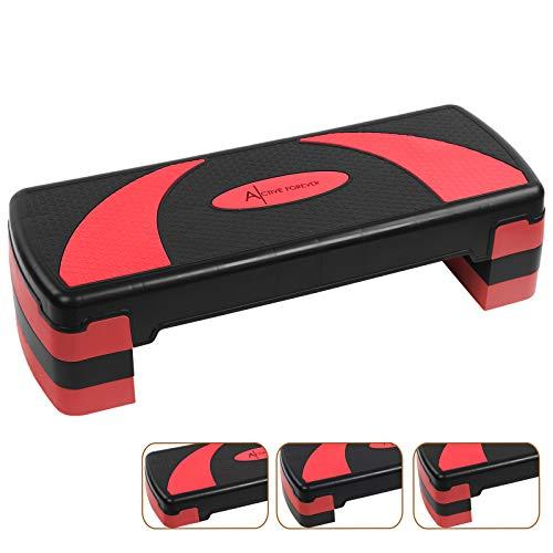 Active Forever Aerobic Stepper für zuhause, Steppbrett, 3 einstellbare Höhen(10cm/15cm/20cm), Geeignet für...