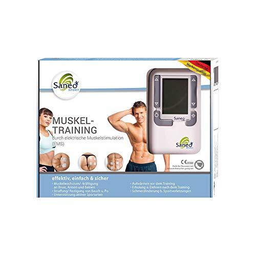 SaneoSPORT Muskeltraining elektrischer EMS TENS Muskelstimulator für Muskelaufbau am gesamten Körper |...