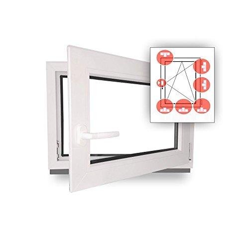 Fenster - Einbruchschutz - weiß - WK2/RC2 Sicherheitsbeschlag - BxH 90x80 cm - DIN Rechts + 3 Pilzköpfe -...