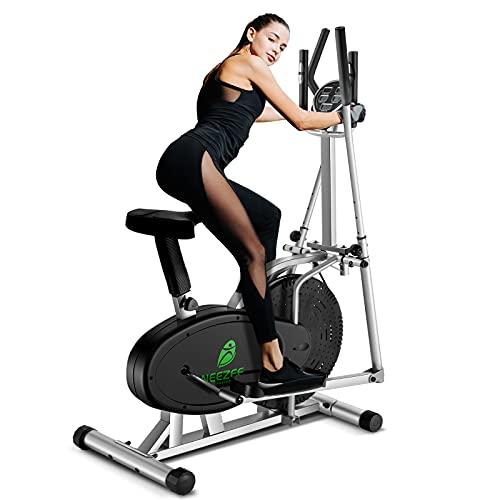 Neezee Upgraded Ellipsen Cross Trainer Mit LCD-Monitor 2 In 1 Sport Rad Trainingsmaschine Maximales Gewicht...