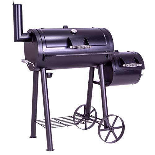 Nexos BBQ Grill Smoker Grillwagen Holzkohlegrill 2 Kammern Barbecue 125x60x120 cm 28 kg Transportrder...