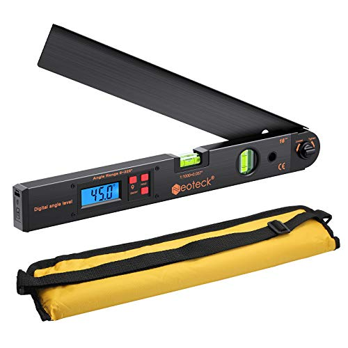 Neoteck Digitaler Winkelmesser 400mm / 16 Zoll Digital Winkelmesser mit LCD-Wasserwaage 0-225 °Digital...