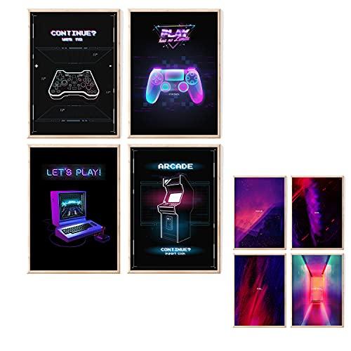 myDreamwork Gaming Poster | Poster Set | OHNE Bilderrahmen | Gamer Geschenk | Zocker Geschenk | Bilderset Neon...