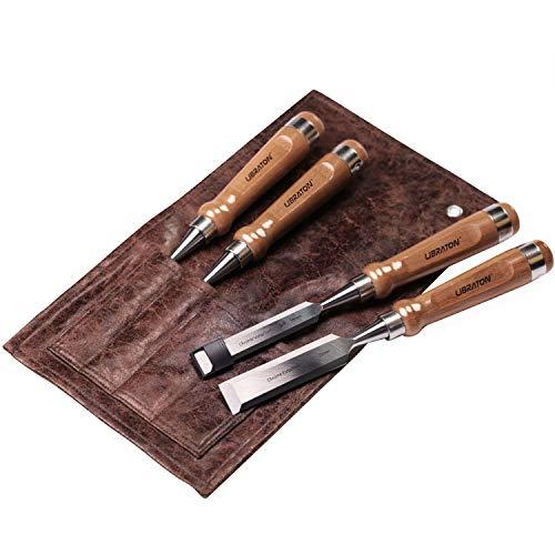 Libraton Stechbeitel Set für Holz 4tlg CrV-Stahl Stemmeisen Stechbeitel Set für Holz mit Holzgriff +Leder...