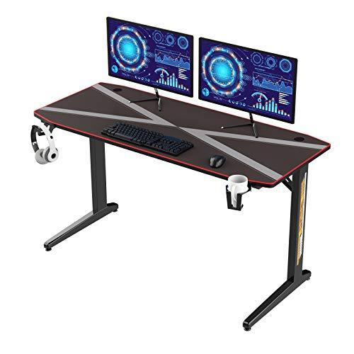 soges 55'' Gaming Tisch PC Tisch Gamer Computer Tisch Schreibtisch mit wasserdichten Mauspad T-Förmiger Desk...