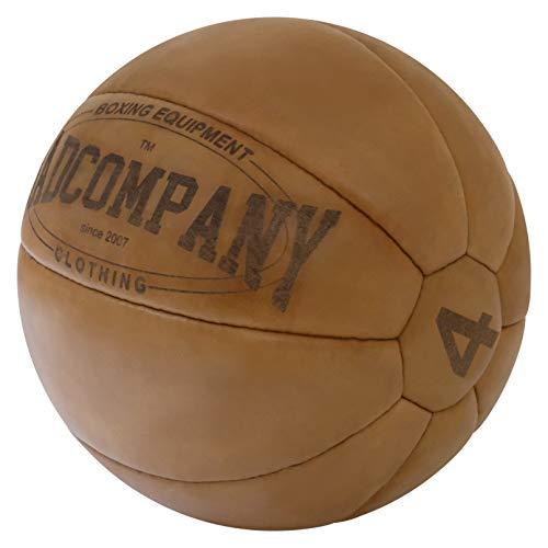Bad Company Vintage Leder Medizinball in 10 Gewichtsstufen l Vollball aus hochwertigem Echtleder in braun 5 kg