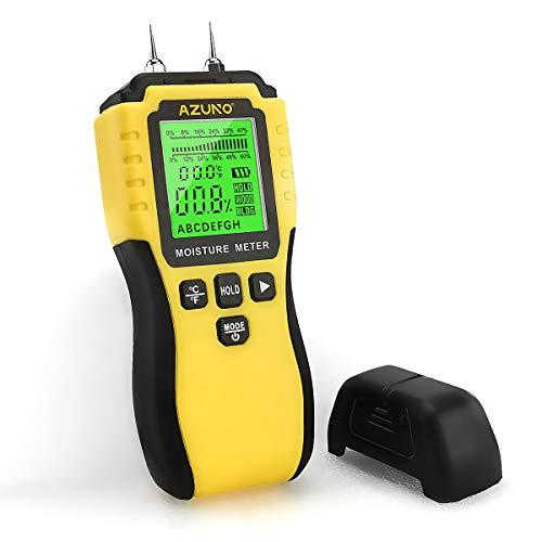 AZUNO Feuchtigkeitsmessgerät, Pin-Typ Holzfeuchtemessgerät mit Batterie und LCD-Display digitale...