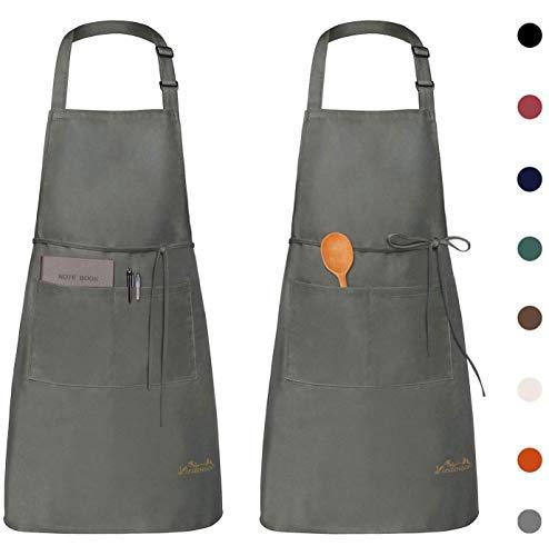 Viedouce 2 Pack Schürze,Wasserdicht Kochschürze mit Taschen,Verstellbarem...