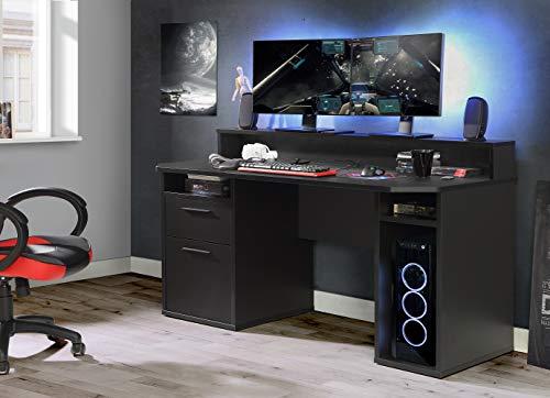 Wohnorama Gamer Tisch PC Schreibtisch TZRB213 TEZAUR von Forte Schwarz by