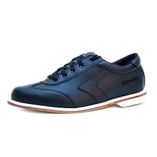 Bowlio Nero Bowlingschuhe aus Leder in Schwarz mit Ledersohle, Größe:38, Farbe:Schwarz