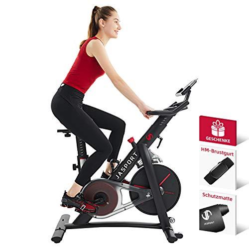 Jasport Speedbike S3, Heimtrainer Indoor Cycling Bike | Magnetbremssystem und kraftvoller Riemen| App mit...
