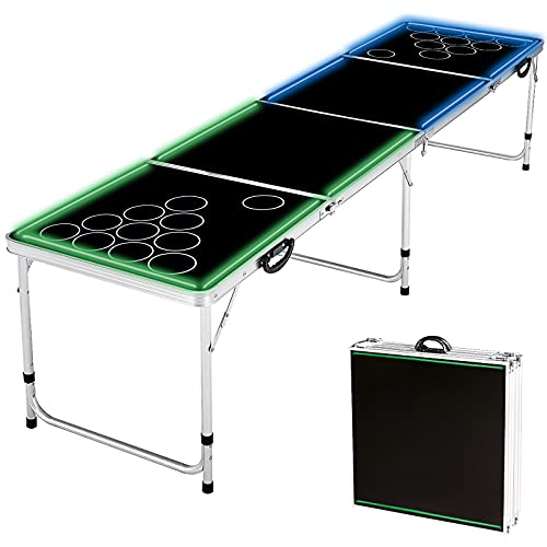 Bierpong Tische Klappbarer, Beer Pong Tisch mit Lichtband, Höhenverstellbarer Bierpong Tisch 240x 60x 70cm