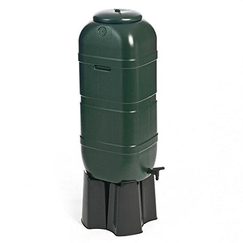 Regentonne, Wassertonne 100 Liter in Grün mit Stand, Füllautomat und Wasserhahn. Optimal u.a. für Balkone...