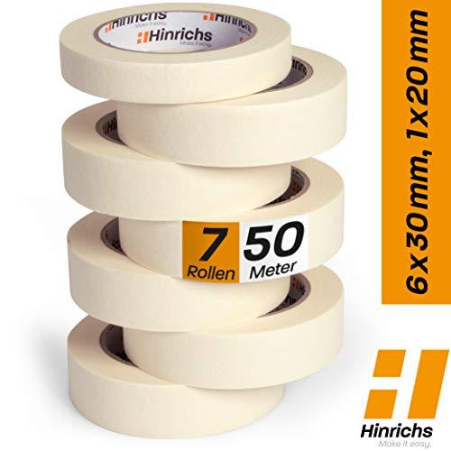 Hinrichs 7 x Kreppband - 6 Rollen 50 m x 30 mm plus 1 Rolle 50 m x 20 mm - Malerkrepp für sauberes Abkleben...