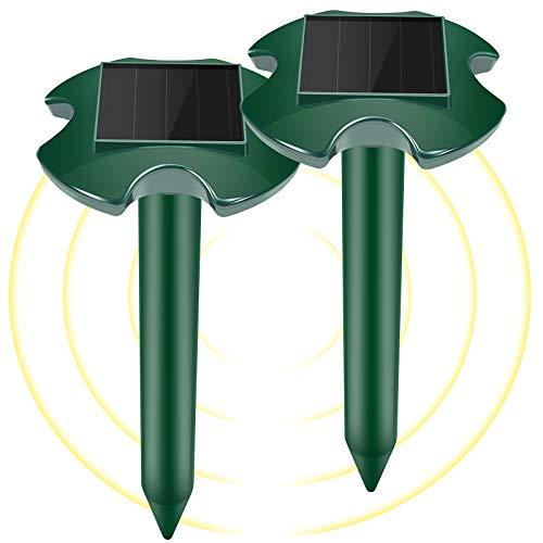 WloveTravel Solar Maulwurf Vertreiber, Wasserdicht Ultraschall Maulwurfschreck - Stark Maulwurfabwehr...