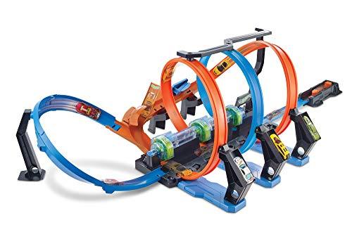Hot Wheels FTB65 - Action Korkenzieher Crash Trackset und Rennbahn mit 3 Loopings und Beschleuniger für...