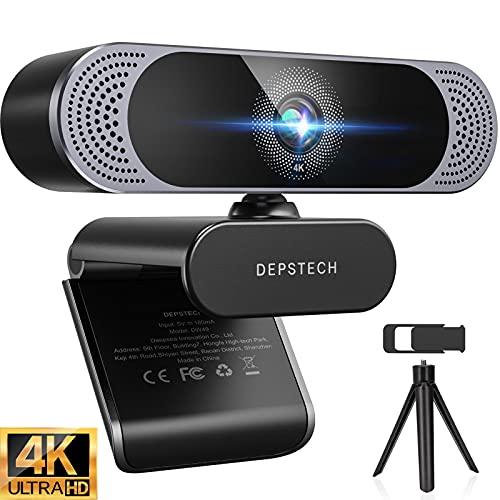 Webcam 4K, DEPSTECH Webcam mit Mikrofon Webcam mit Autofokus/Stereo Dual Mikrofon, USB Plug & Play,...