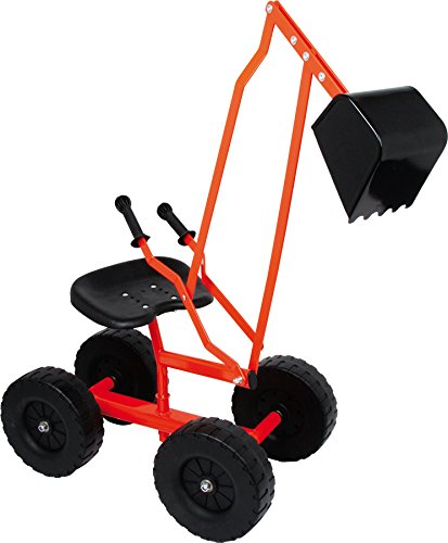 small foot 2020139 4628 Bagger mit Schaufel und Rädern für Kinder, Sandspielzeug / Strandspielzeug, 360°...