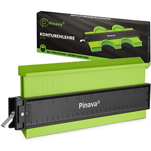 PINAVA® Konturenlehre groß mit Feststeller [Extra dünne Taststifte] - Konturmessgerät, Profillehre -...