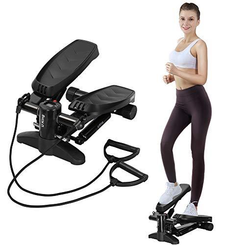 U`King Stepper für Zuhause, Mini Swing Stepper Hometrainer mit Zugbändern Up-Down-Stepper Fitnessgerät für...