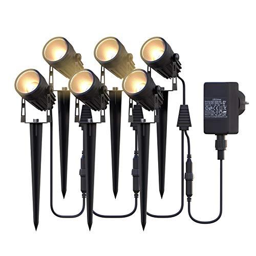 Gartenbeleuchtung,Azhien Gartenstrahler LED mit Erdspieß,6x3W 1800Lm Gartenleuchte,IP65 Warmweiß COB LED...