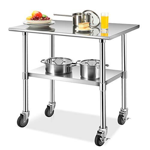 COSTWAY Arbeitstisch Edelstahl, Edelstahltisch mit Höhenverstellbarer Ablage, Küchentisch mit 4...