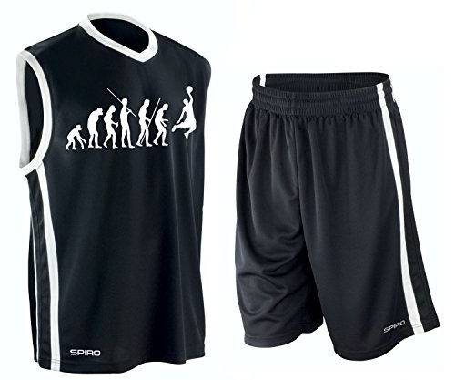 Coole-Fun-T-Shirts Basketball - Evolution ! Trikot Tank mit Hose Shirt schwarz Gr.S