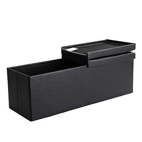 SONGMICS SitzbankSitztruhe120LHalbdeckelseitlichklappbar Belastbarkeit300kgschwarz LSF75BK