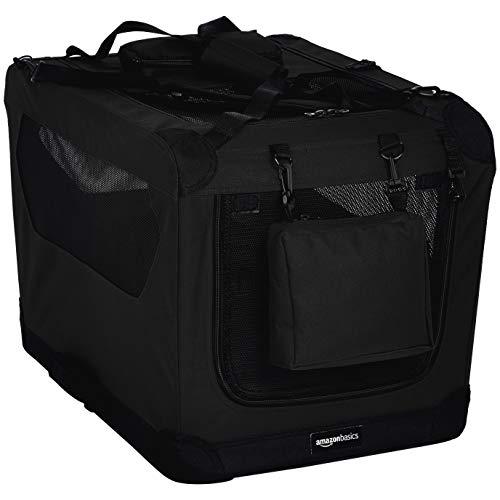 Amazon Basics - Hochwertige Haustier-Transportbox, faltbar, weich - 66 cm, SCHWARZ