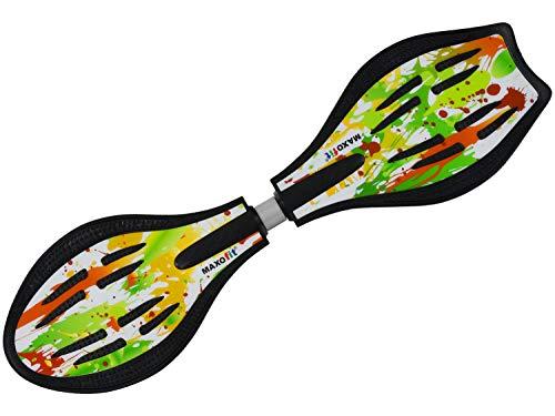 MAXOfit Waveboard Pro Close XL   Bis 100 kg   Mit LED Leuchtrollen, Tasche und Zubehör für Kinder