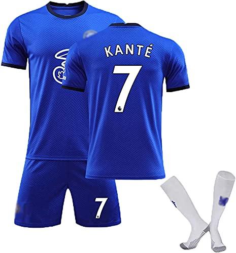 SXMY Fußball-Uniformen Set für Erwachsene und Kinder, Chelsea No. 7 Kanté Fußballtrikot, Fanatisches...