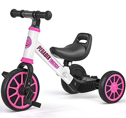 Peradix 3 in 1 Kinder Laufrad Dreirad Fahrrad mit Abnehmbares Pedal, Sitz Höhenverstellbar, Lauffahrrad...