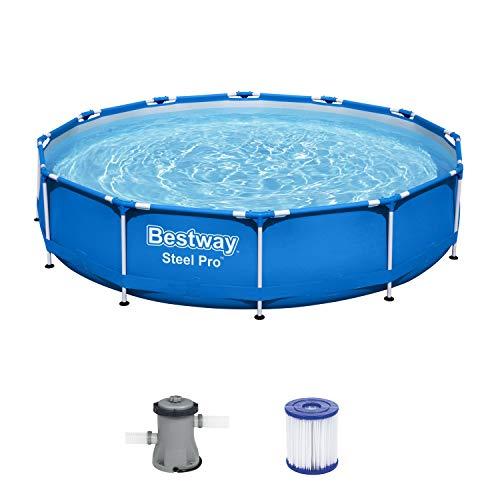 Bestway Steel Pro Frame Pool, 366 x 76 cm, Set mit Filterpumpe, rund, blau