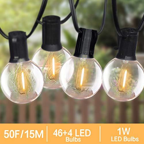 LED Lichterkette Auen 15M Fochea Lichterkette Glhbirnen G40 46+4 1W LED Globe Birnen E12 Warmwei 2700K...