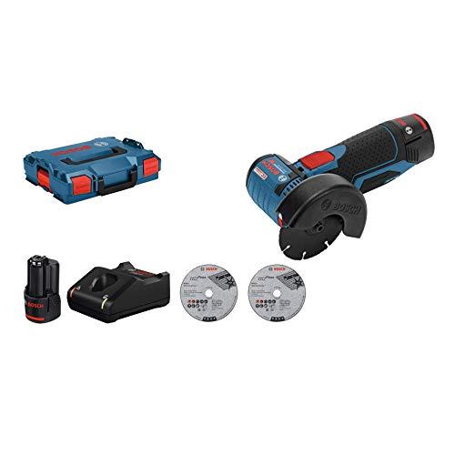 Bosch Professional 12V System Akku Winkelschleifer GWS 12V-76 (3 Trennscheiben, Scheibendurchmesser: 76 mm,...