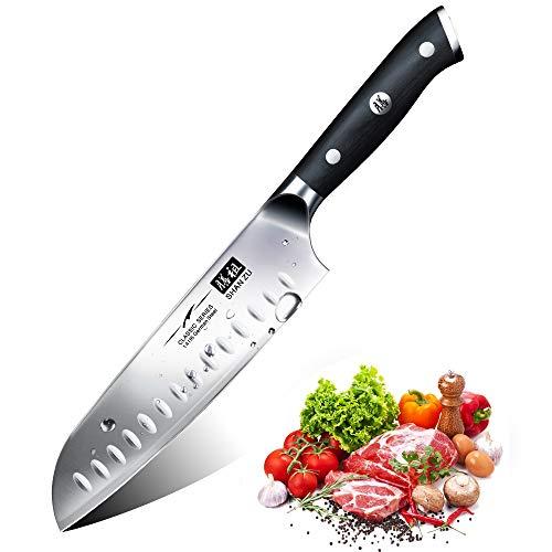 Kochmesser Küchenmesser, SHAN ZU Chefmesser Santoku Deutscher Carbon Edelstahl Scharfe Messerklinge 18cm...