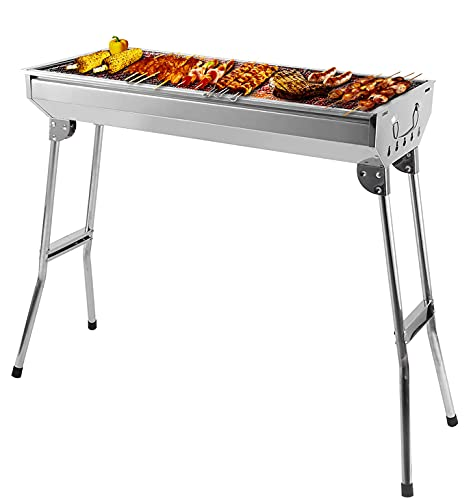 Holzkohlegrill Klappgrill Edelstahl Camping Grill Holzkohle Barbecue Klappbar Standgrill, tragbar, 73x33x68...