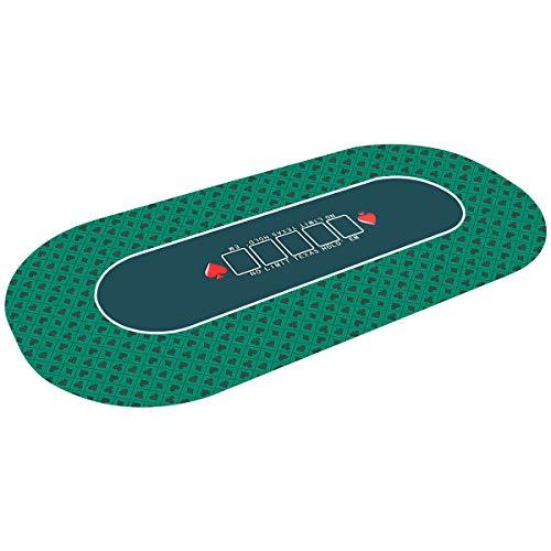 COSTWAY Pokermatte 180x90cm, Pokerauflage rollbar, Pokerteppich, Pokertuch, Pokertisch Unterlage,...