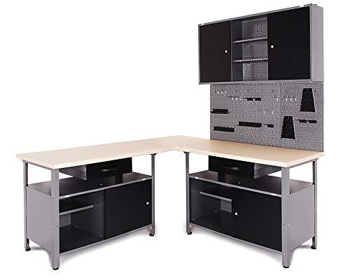 Ondis24 Werkstatt Set Ecklösung Classic One, Werkbank, Werkzeugschrank, Werkzeugwand Lochwand, Haken Set,...