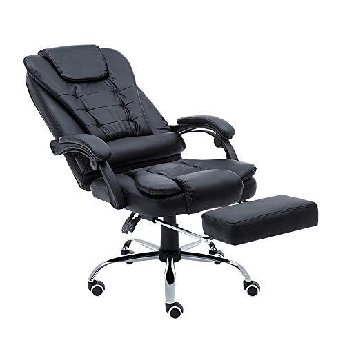 Aufun Bürostuhl mit Fußstütze, Bürodrehstuhl Drehstuhl mit Armlehnen, PU Kunstleder Gaming Stuhl Racing...