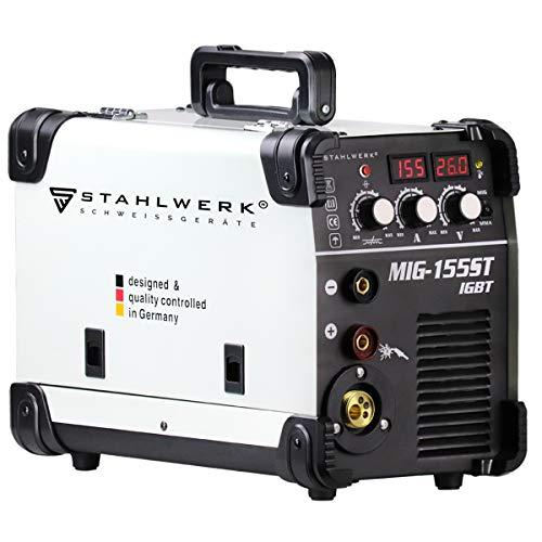 STAHLWERK MIG 155 ST IGBT - MIG MAG Schutzgas Schweißgerät mit 155 Ampere, FLUX Fülldraht geeignet, mit MMA...