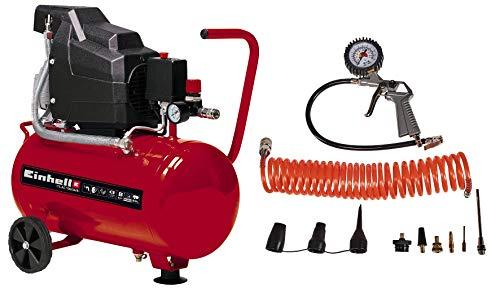 Einhell Kompressor TC-AC 190/24/8 Kit (max. 8 bar, 24 l-Tank, Manometer + Schnellkupplung,...